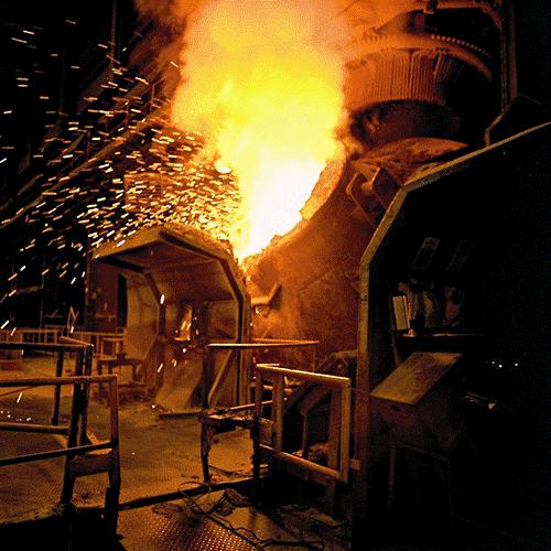 Outokumpu liquid steel and slag