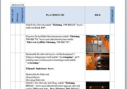 Outokumpu logout/tagout instructions
